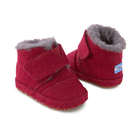 Red Felt Tiny TOMS Cuna Crib Shoes