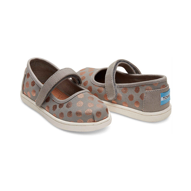Drizzle Grey Rose Gold Foil Polka Dot Tiny TOMS Mary Janes