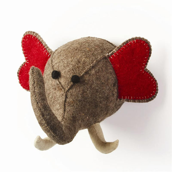 front angle view of wool elephant head in grey, with white tusks and red ears