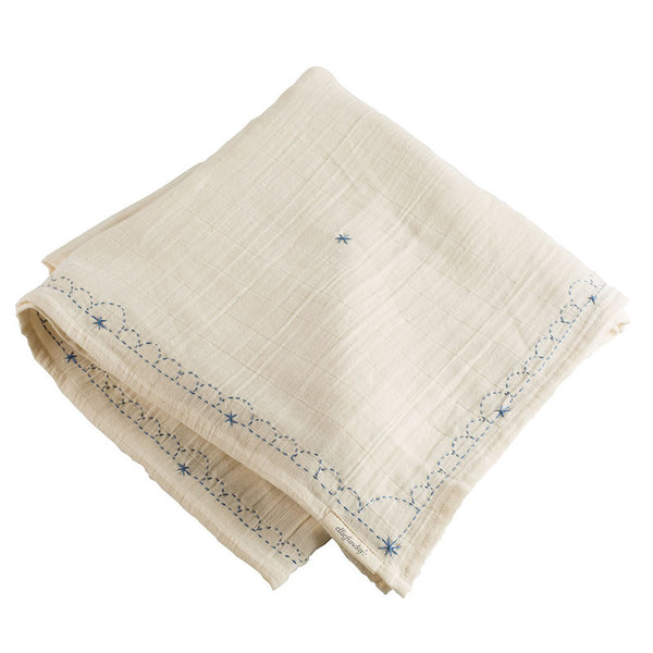Light Blue Jean Organic Goddess Swaddle