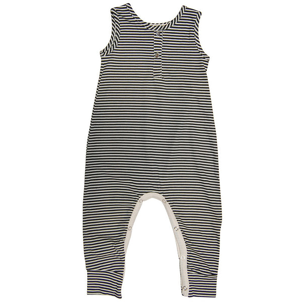 Natural / Black Stripe Henley Tank Jumpsuit