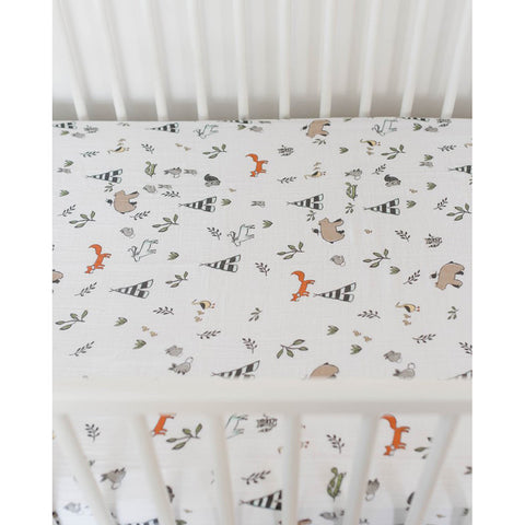 Forest Friends Cotton Muslin Crib Sheet