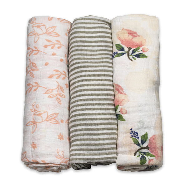 Garden Rose Cotton Muslin Swaddle Set of 3