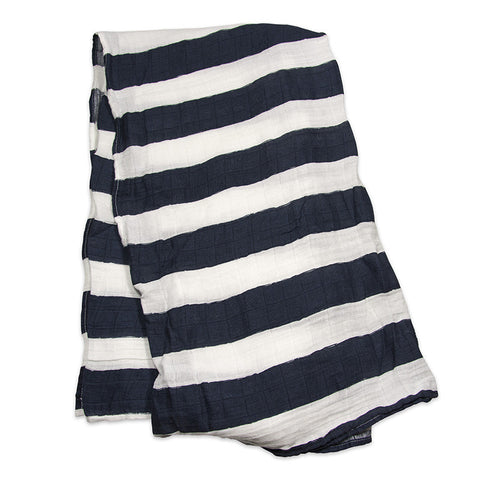 Navy Stripe Cotton Swaddle