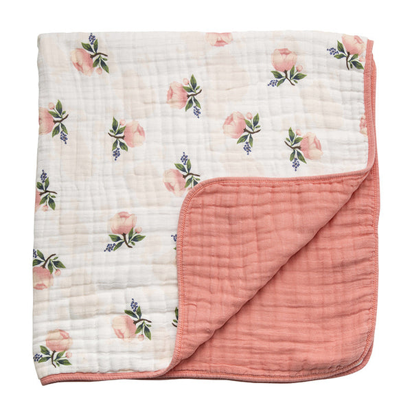Watercolor Rose Cotton Muslin Quilt