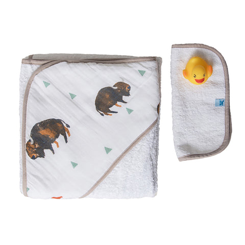 Bison Hooded Towel & Washcloth Set