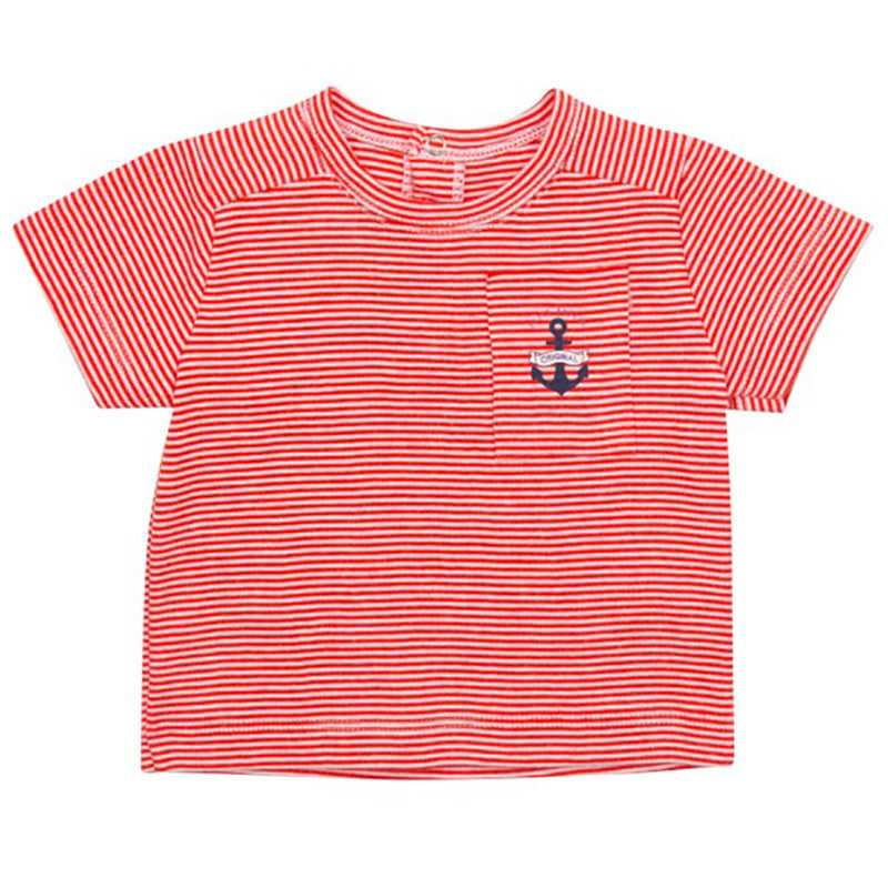 Boon Short Sleeve Striped Tee with Anchor