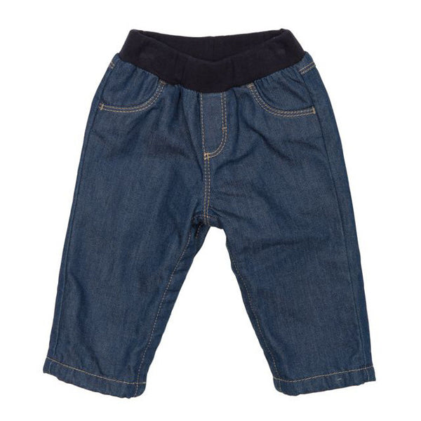 front view of petit bateau sammy denim pants with cotton waist band