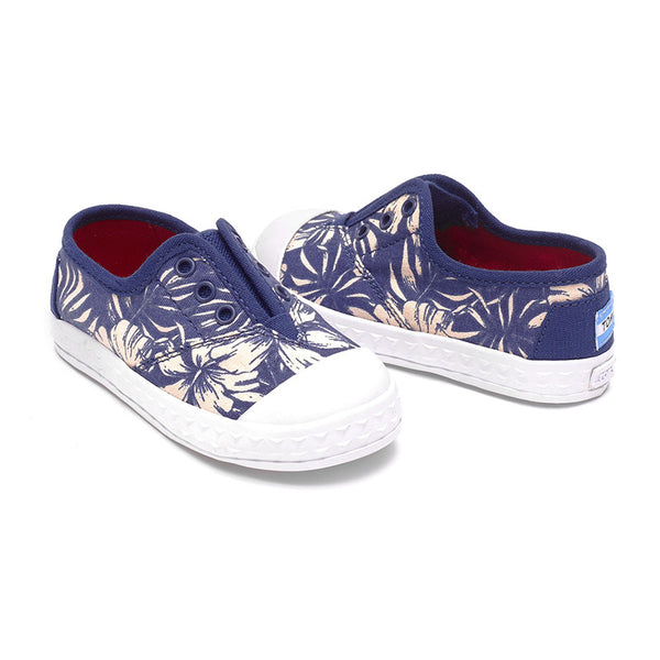 Blue Canvas Floral Tiny TOMS Zuma Sneakers
