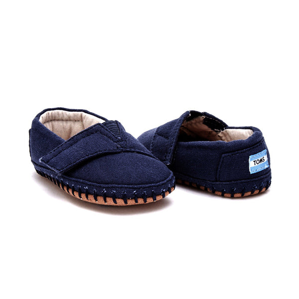 Tiny TOMS Navy Canvas Alpargata Layette Crib Shoes