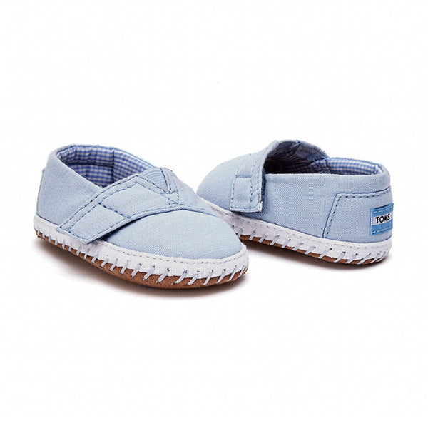 Tiny TOMS Light Blue Chambray Alpargata Layette Crib Shoes