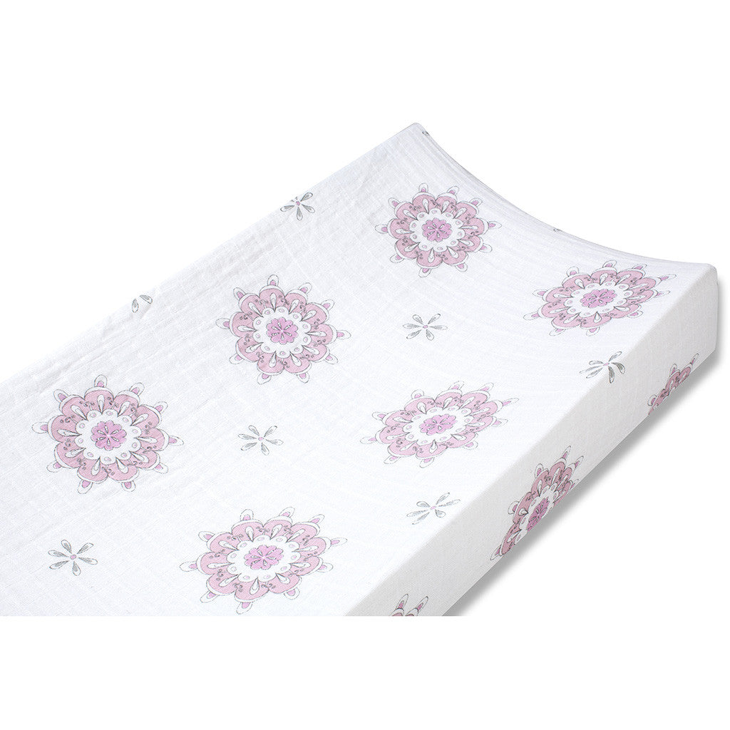 aden and anais classic changing pad cover in pink medallion print