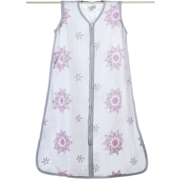 full shot of aden and anais classic sleeping bag in pink medallion print