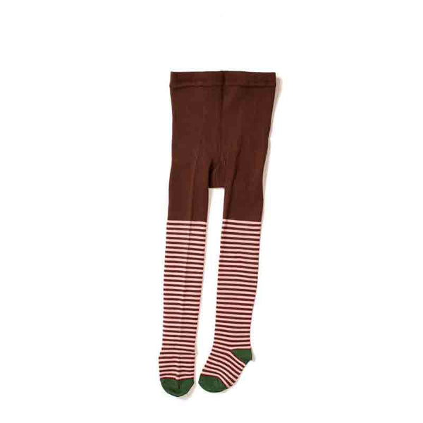 front view of hansel and basel nautical stripe tights in brown and white with a green heel and toe