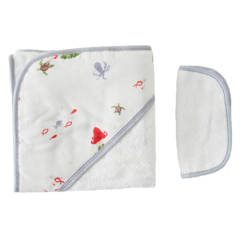 Mermaid Hooded Towel & Washcloth Set