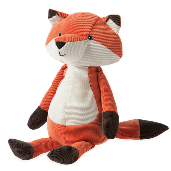 orange, brown and white corduroy fox toy