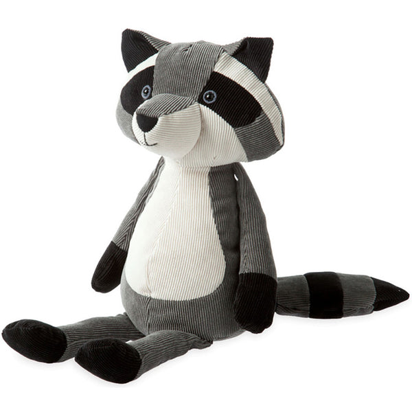 gray, black and white corduroy raccoon