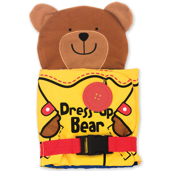 soft cloth activity dress up bear with front buckle closed