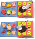 little chef soft cloth activity book showing sandwich making and eggs