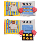 little chef soft cloth activity book open to baking page