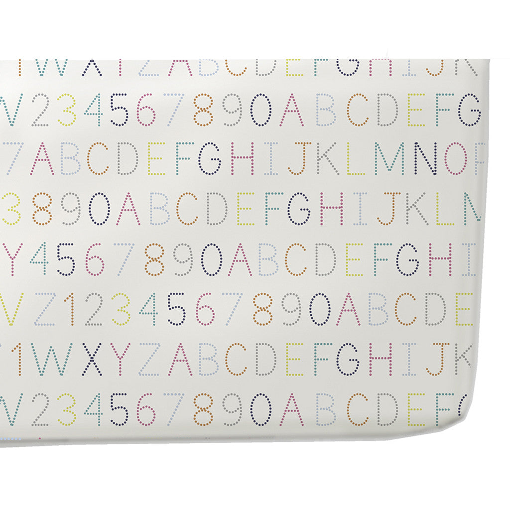 pehr designs white cotton crib sheet with multi color alphabet print