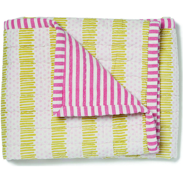 pehr designs pink and yellow striped quilted nursery blanket