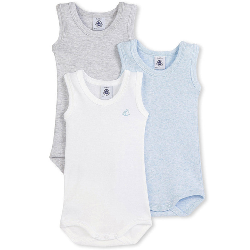 Boys Sleeveless Bodysuits 3-Pack