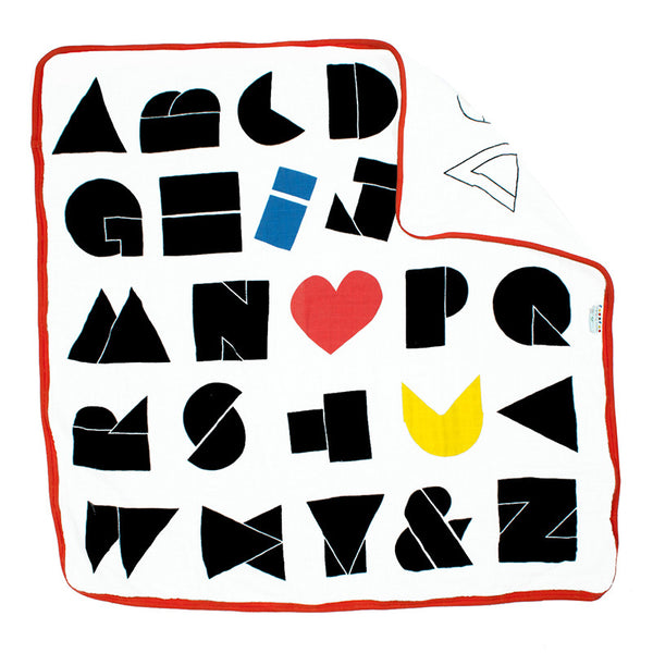 modern, bold organic cotton blanket with alphabet print on both sides