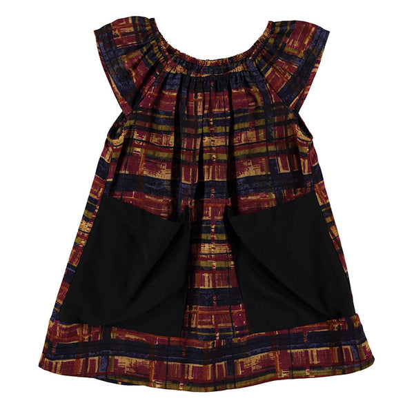 front view of Ultra Violet Kids Sophie dress in berry plaid print with oversize black pockets