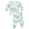 under the nile pastel stripe green side snap layette set