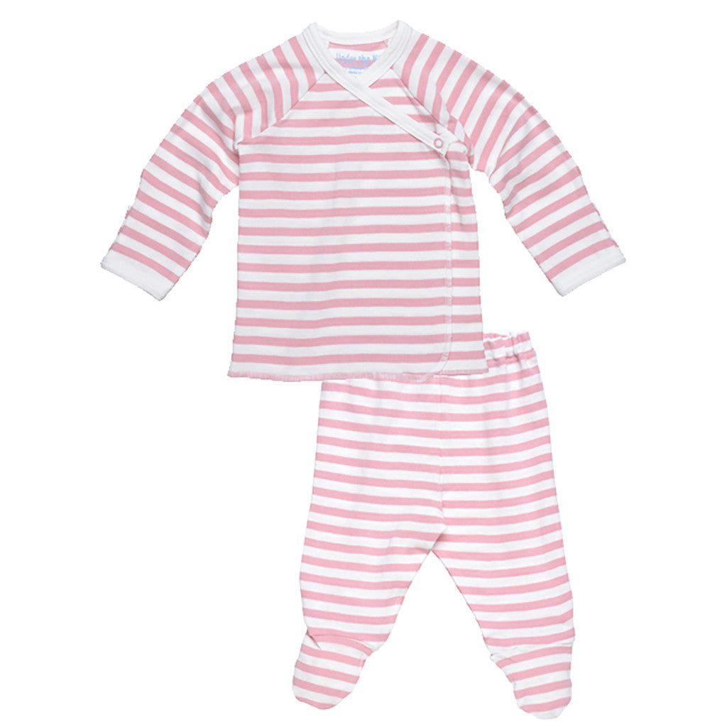 under the nile pastel stripe pink side snap layette set