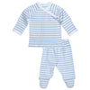under the nile pastel stripe blue side snap layette set