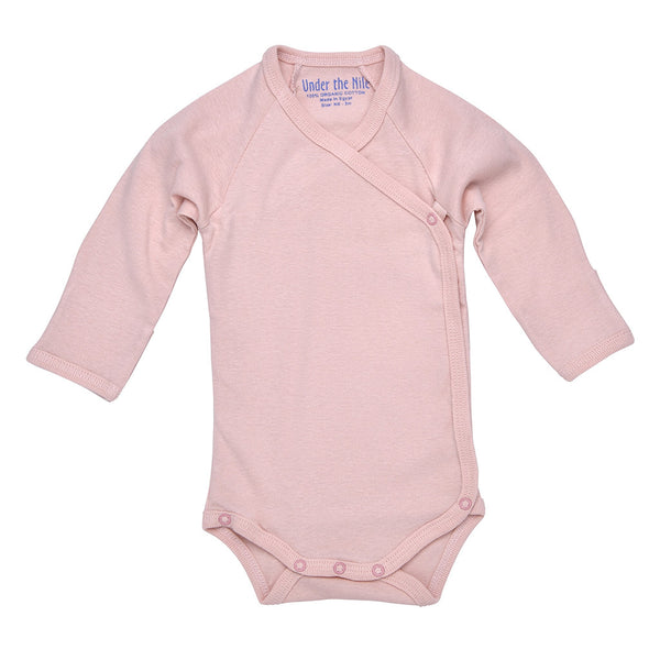 under the nile organic cotton long sleeve pink onesie