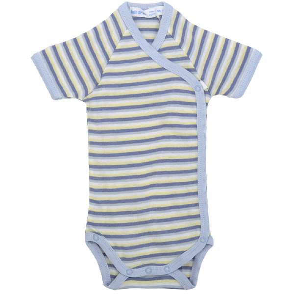 under the nile organic short sleeve cotton onesie with blue stripes