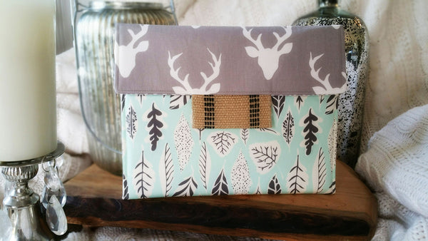 Oh Deer iPad/Tablet, Macbook/Laptop, Kindle/Ereader Case Grey Deer & Green Leaf - Oh! Koey