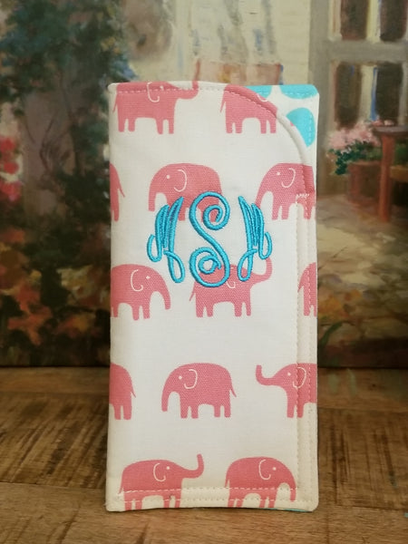 Pink Elephant Sunglass Case Monogrammed EyeGlass Sleeve, Personalized Sun glass sleeves, eye glasses - Oh! Koey