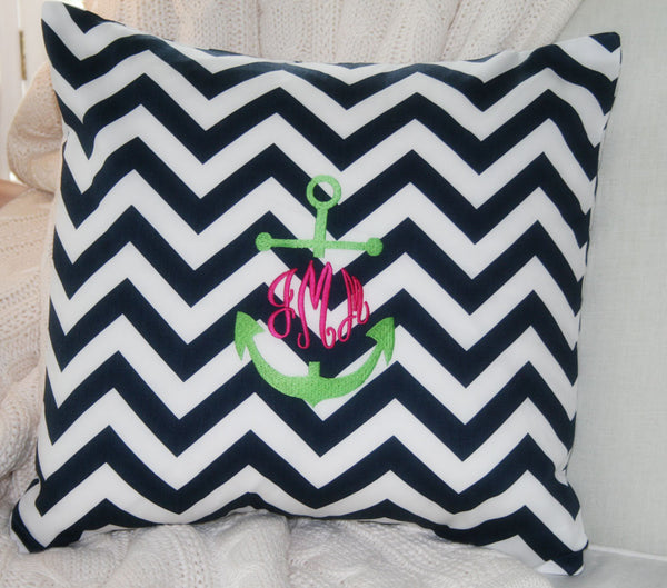 Nautical Navy Blue and White Chevron Monogram Pillow Cover with Anchor - Oh! Koey