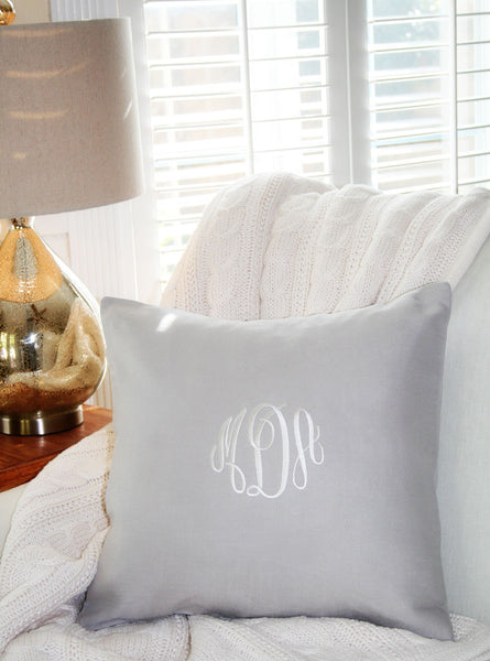 Serene Grey Linen Monogram Pillow Cover - Oh! Koey