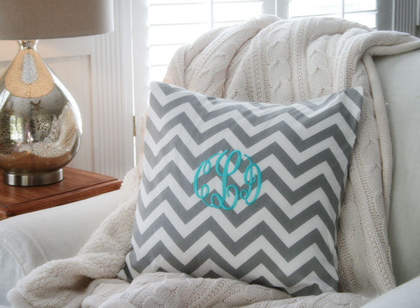 Grey and White Chevron Monogram Pillow Cover - Oh! Koey
