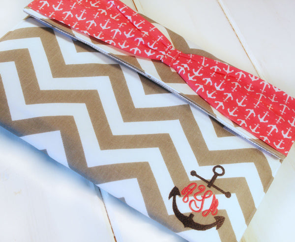 Monogrammed Ipad/Tablet/Laptop/Macbook/Kindle Case in Grey Chevron and Nautical Anchor Bow - Oh! Koey