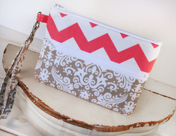 Zipper Pouch Cell Phone Clutch in Grey Damask and Pink Chevron iPhone/Samsung Cell Phone Clutch Wristlet - Oh! Koey