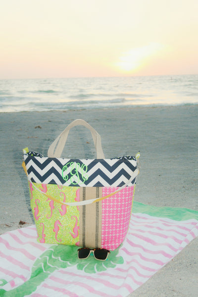 Monogrammed Seahorse and Chevron Beach Tote, All Day Bag, Diaper Bag or Tennis Tote - Oh! Koey