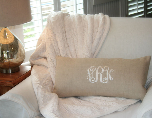 Natural Linen Monogrammed Pillow Cover - Oh! Koey
