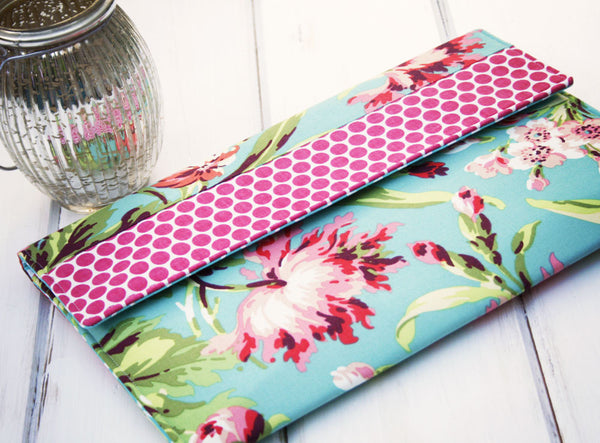 iPad/Tablet, Kindle/Ereader or Macbook/Laptop Case in Pretty Pink Hawaiian Flowers and Polka Dots - Oh! Koey