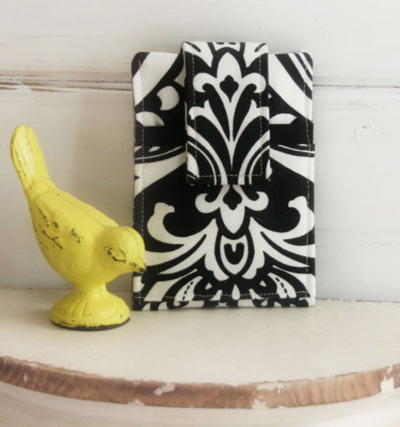 Phone Sleeve For Any Brand Phone ~in Black and White Damask - Oh! Koey
