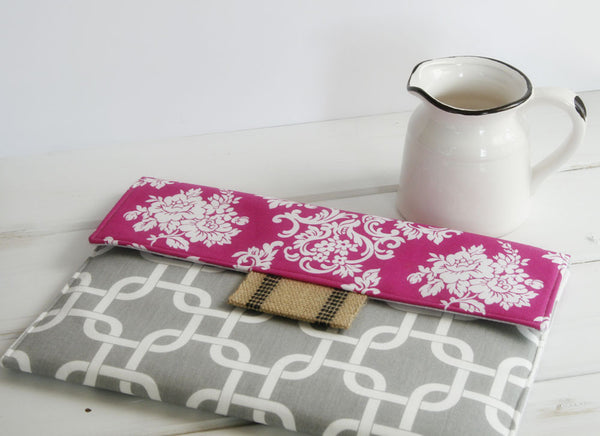 Pink Damask & Grey Chains iPad Case|Tablet Case|Laptop Case|Macbook Case - Oh! Koey