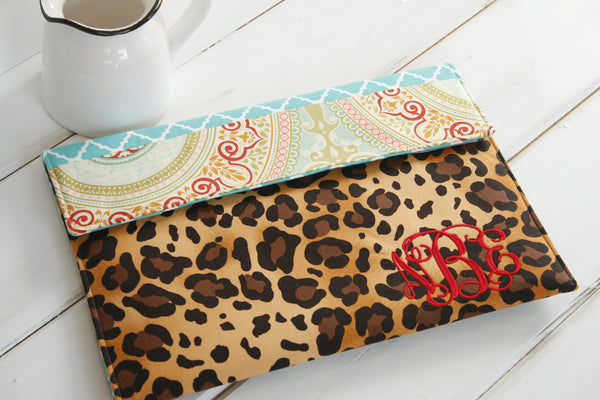 Monogrammed Animal Leopard Print Kindle, iPad, Macbook, Ereader, Tablet and Laptop Sleeve - Oh! Koey