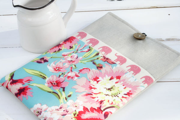 Elephant and Hawaiian Floral and Linen iPad & Tablet Case or Macbook & Laptop Case - Oh! Koey