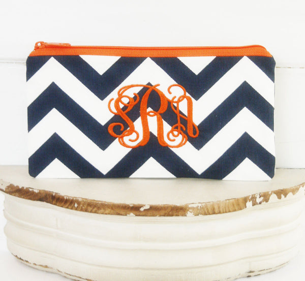Monogrammed, Personalized Cosmetic Bag | Zipper Top Pouch | Everyday Clutch in Navy Blue Chevron - Oh! Koey