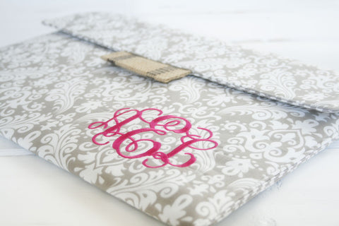 Grey Damask Monogrammed iPad Case|Tablet Case|Laptop Case|Macbook Case - Oh! Koey